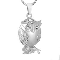 Wholesale crystal owl pendant necklace - IJD9740 Owl Shape Stainless Steel Cremation Jewelry Pendant Necklace Crystal Memorial Ashes Keepsake Urn Necklace