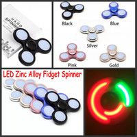 Wholesale Triangle Packaging - 2017 5 Colors LED Bright Zinc Alloy Fidget Spinners Triangle Metal Finger Spinner Colorful light Decompression Toys with Retail Packaging