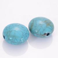 accesorios turquesas al por mayor-50 Unids 10x17mm Plana Redonda Suelta Perla Crackle Granos de Acrílico Crackled Turquoise Bead Para La Joyería de DIY Que Hace Accesorios