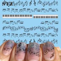 Wholesale Tattoo Nail Art Decals - Wholesale- STZ 1 Sheets Hot Nail Designs Black Music Note Printing DIY Nails Toes Women Nail Art Sticker Decals Tattoos Tools #New
