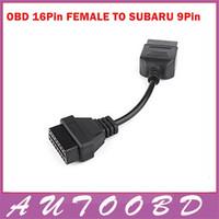 cables obd2 obd 2018 - Wholesale- OBD S-ubaru 9PIN 9 pins OBD1 To OBD2 OBDII OBD2 Cable 16 Pin 16PIN Socket Male To Female Extension Auto Diagnostic Adapter