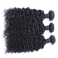 meilleurs cheveux bouclés indiens vierges achat en gros de-Meilleure Qualité Cheveux Brésiliens Non Transformés Malaisienne Brésilienne Indienne Péruvienne Jerry Bouclés Extension de Cheveux 3 ou 4 Pièces Humaine Vierge Cheveux Weave