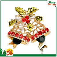 Wholesale Christmas Broches - AL048-A 2016 Hot Sale 18K Gold Plated Alloy Metal Christmas Bells Lapel Pins For Women Gift Multi Color Rhinestone Fashion Broches