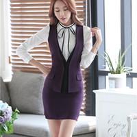 Wholesale Ladies Short Skirt Suits - Fashion business career ladies vest work wear uniforms Suit Slim Formal jackets vest women office vests layer vest set plus size S-4XL