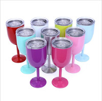 Wholesale Red Wall Art - 100Pcs 10oz Stainless Steel Wine Glass 9 Colors Double Wall Insulated Metal Goblet With Lid Tumbler Red Wine Mugs 50Pcs