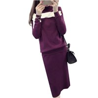 Wholesale Cheap Long Sleeve Pullover Sweater - Wholesale-2016 Korean 2 pcs Pullover Sweaters Jumpers Long Sleeve Casual Spring Autumn Knitted Sweter Mujer Cheap Wool Sweater