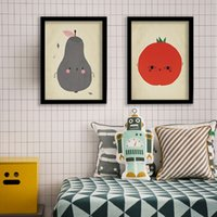 Cute Kids Room Posters and Prints Canvas Nursery Decor Creativo Pear / Apple / Tomato Pattern Paintings Diseño de pared Fruit Art Posters Unframed