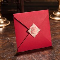 Wholesale wedding invitation chinese floral resale online - Personalized Elegant Floral Cut Double happiness Asian Chinese Style Wedding Invitation card Red color