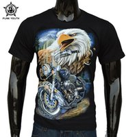 Vente en gros - Punk Youth Brand Summer Rock 3D Eagle Moto Hommes T-shirt Streetwear Feel Thunder T-Shirts Casual Cotton Short Tees
