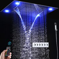 Wholesale Showerhead Set - Bathroom LED Shower Faucets Set 4 Function Ceiling Showerhead Large Rainfall, Waterfall, Mist Thermostatic Mixer Bath