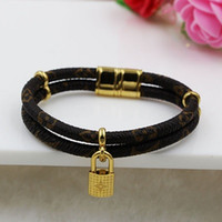 Wholesale Magnetic Clasps China - 2017 new fashion double lock small leather bracelet titanium leather rope magnetic buckle bracelet