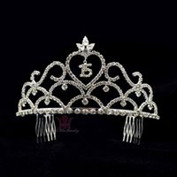 Wholesale Tiaras For 15 - Tiaras Crown Rhinestone Crystal 15 Or 16 Word High Grade quality Hair Accessories Comb Headband For Birthday Party Adult Ceremony 02271