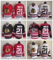 ingrosso patch blackhawks-Chicago Blackhawks Stan Mikita Hockey Jerseys 1963 Vintage CCM 21 Stan Mikita maglia cucita Winter Classic rosso 75th Patch