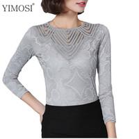 Wholesale Women Basic Chiffon Blouse - YIMOSI Autumn Women Lace Blouse 2017 Korean Fashion Long Sleeve Lace Shirts Lady Basic Tops Sexy Slim Blouse Plus Size