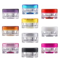 Wholesale Wholesale Glass Cosmetic Jar Bottles - 50pcs transparent Quality round cream bottle 3g jars pot container empty cosmetic plastic sample container for nail art storage