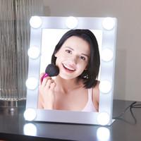 Wholesale Vanity Mirror Lights Bulbs - Adjustable 9LED Lighted Bulbs Makeup Mirror Touch Screen Beauty Salon Vanity Tabletop Lamp Mirror