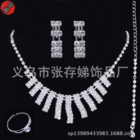 Wholesale Cheap Silver Necklaces Pendant - Cheap Bridal Jewelry Sets Silver Crystal Pendants Necklaces and Drop Chandelier Stud Rhinestones Earrings Fashion For Party Prom Under 5