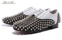 MBL995G Taille 36-46 Hommes Femmes Noir Blanc Cuir Avec Silver Spikes Round Toe Lace Up Bottom Oxford Red, Gentleman Brand Wedding Dress Shoes