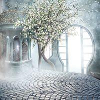 telón de fondo de la boda interior al por mayor-Sunshine Through Arch Door Indoor Fantasy Foto de la boda Fondo Árboles de flores blancas Escalera Fotografía Photoshoot Telones de fondo Piso de ladrillo