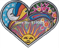 Wholesale rock patches - HEART MOON SUN Dan Morris Art Hippie Band patch Heavy Metal Music Rock Punk Rockabilly sew on iron on transfer badge
