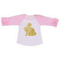 Wholesale boutique easter clothing for sale - Easter Day Baby Boutique Clothing Bunny Icing Raglans Top T Shirt Girls Ruffle Three Quarter Girls Tees