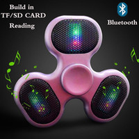Wholesale Funny Cards - New Support SD TF card speaker Hand Spinner bluetooth music fidget spinner creative funny Finger spinner speaker Colorful LED HandSpinner