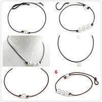 süßwasserperle chokers großhandel-Frauen Mode Halsreifen Perlenkette Schmuck Handgefertigte Leder Seil Perle Anhänger Halskette Nachahmung Natürliche Frischwasserperlenkette A113