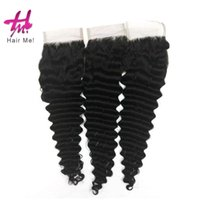 Wholesale Deep Wave Top Base Closure - 4x4 Deep Wave Lace closure virgin hair weaves Three Middle Free Part Closure Top silk based Closure Free shipping