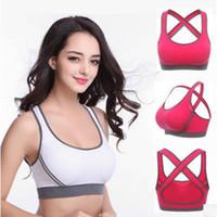 Wholesale Athletic Top Bra - 2017 New Fashion Women fashion Padded Top Athletic Vests Gym Fitness Sports Bras Yoga Stretch Shirts Vest