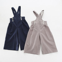 Wholesale Overall Jeans For Kids - Girls Overalls for Kids Clothing 2017 Spring Summer Wide Leg Pant Korean Fashion Girls Pants EC-597