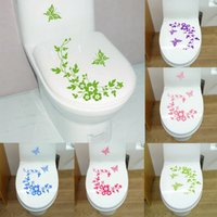 Wholesale Furniture Stickers Decals - 5Colors Butterfly Flower Bathroom Toilet Laptop Wall Decals Decorative Sticker Home Furniture Decoration Washing Machine Sticker WA1454