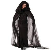 ingrosso mantello nero delle donne-Costume da Witch Abbigliamento Costume da uomo nero Guanti da mantello Set da Halloween per abbigliamento femminile Cosplay