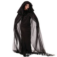 Wholesale halloween witch cosplay for women online – ideas Women Witch Clothing Costume Black Dress Cloak Gloves Halloween Sets For Female Wear Cosplay