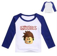 ingrosso costumi gialli-2017 autunno manica lunga t-shirt per ragazze Roblox camicia gialla camicetta per ragazzi in cotone tee sport camicia Roblox costume per neonato