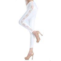 Wholesale Leggings Slim Thighs - Wholesale- Adult Black White Lace Cut Out Nine Thigh Slimming lace leggings S7878 Ladies Plus Size High Stretched Fitness Leggings Capris