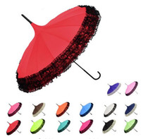 Wholesale pieces New Elegant Semi automatic Lace Umbrella Fancy sunny and rainy Pagoda Umbrellas colors available