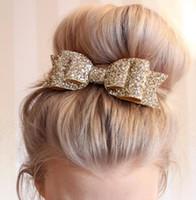 Wholesale Elegant Children Hair Accessories Wholesale - Party Elegant Headwear Hair Clip Women Children Girl Big Glitter Bow Hairpins Hair Clips Hair jewelry Accessories
