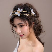 Wholesale Bridal Tiara Hair Crown Butterfly - Wedding Bridal White Butterfly Pearl Alloy Crown 2018 Romantic Butterfly Pearl Hairbands Bridal Tiaras Handmade Bridal Hair band Accessories