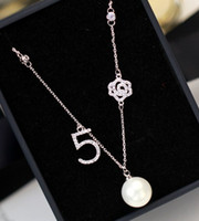 Wholesale New Design Necklace Jewellery - 2016 new design fashion jewellery letter necklace pendant with clear cz stones real rhodium plating,shell pearl necklace free shipping