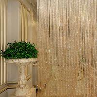 Wholesale Window Drape Style - Tassel Glitter Curtains String Champagne for Living Room Window Door Shower Curtain Divider Panels Screen Drape Decoration