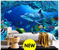 Wholesale Seaside Wall Decor - High end Custom 3d photo wallpaper murals wall paper 3D Seaside World Dolphins living room wallpaper background wall home decor