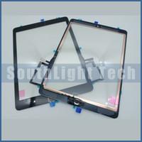 ipad mini cam dokunmatik sayısallaştırıcı toptan satış-Orijinal Yeni iPad Hava iPad 5 Için Dokunmatik Ekran Cam Panel Sayısallaştırıcı Meclisi Ile Ev Düğmesi + Orijinal 3 M Yapıştırıcı Sticker + Kamera Tutucu