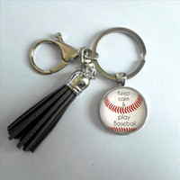 Wholesale Craft Keyrings - 2017 Fashion Baseball Tassel Key Chain Keep Calm and Play Baseball Keyring Round Bohemian Keychain Hand Craft Jewelry For Athlet