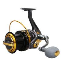 Wholesale cnc wheels - Big Fishing Reel Spinning Reel TF8000 9000 10000 11000 Metal Spool Ocean Sea Long Shot Carp Fishing Wheel CNC Handle 12+1BB