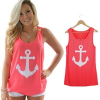 Wholesale Woman Fancy - Wholesale-Fashion Women Anchor Casual Fancy Sleeveless Tee Bowknot Summer Simple Vest Tank Sexy T-Shirt Party