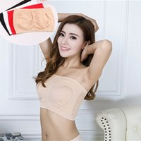 Wholesale Womens Tube Tops Hot - New 4 colors Fashion Sexy bras Hot Selling Womens Strapless Boob Tube Top Bandeau Bra Underwear Microfiber Pullover Bra BAB30