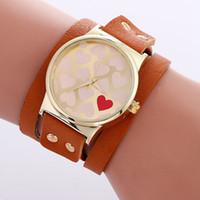 Wholesale Stainless Steel Long Bracelets - Love design fashion women ladies leather long straps bracelet watch simple 2017 wholesale casual lady dress quartz watches