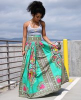 Wholesale Traditional Ball Gowns - Dear lover traditional African Woman Long Skirt 2017 Green Long Ankara African Print Dashiki High Waist Maxi Skirt For Women Wholesale dress