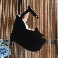 Wholesale Taiwan Wedges - 14cm High quality Heels Platform Women's Shoes Nubuck leather waterproof Taiwan wedges nightclub hollow out women's sandals black and red