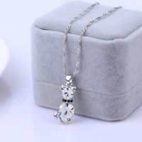 Wholesale Kitty Link - 5 Colors 18K White Gold Plated Cut AAA+ Cubic Zirconia CZ Cute Kitty Cat Animal Chain Pendant Necklace for Women Girls Festive Gift